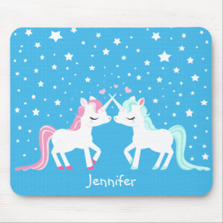 Licornes dans le mousepad d'amour personnalisable tapis de souris