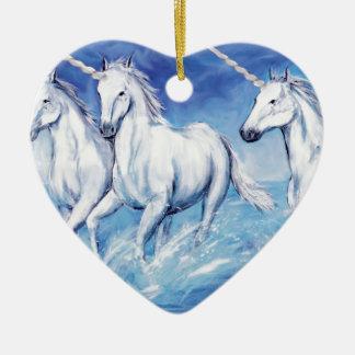 licornes ornement cœur en céramique