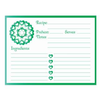 Lié par la carte de recette de vert d'amour
