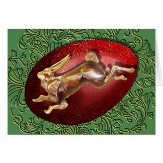 Lièvres de ressort et carte rouge d'oeufs