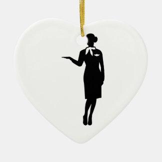 Ligne aérienne d'hôtesse ornement cœur en céramique