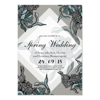 Carte Ligne audacieuse carte de mariage florale de