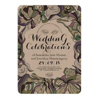 Ligne audacieuse carte de mariage florale de