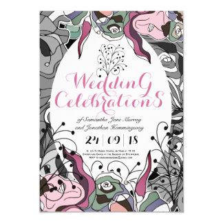 Ligne audacieuse carte de mariage florale de carton d'invitation  12,7 cm x 17,78 cm