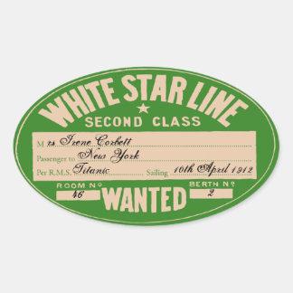 Ligne blanche d'étoile (pour customiser) sticker ovale