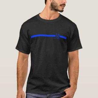 ligne bleue mince de monogramme fait sur commande t-shirt