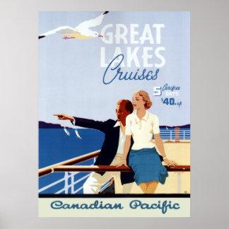 Ligne de croisière canadienne vintage voyage de poster