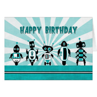 Ligne des robots devant la carte d'anniversaire de