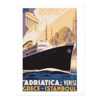 Ligne maritime vintage annonce Venise, Grèce, Carte Postale
