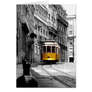 Ligne merveilleuse 28 de tram à Lisbonne Carte De Vœux