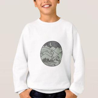 Ligne mono de cercle émouvant de brontosaure sweatshirt