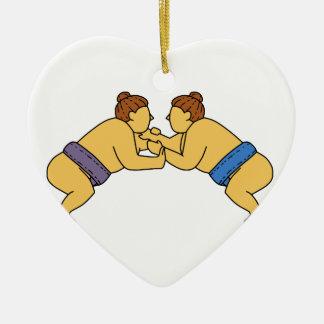 Ligne mono de lutteurs de sumo de Rikishi Ornement Cœur En Céramique