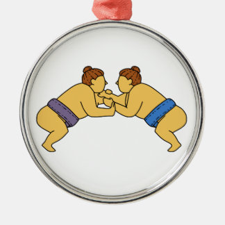 Ligne mono de lutteurs de sumo de Rikishi Ornement Rond Argenté