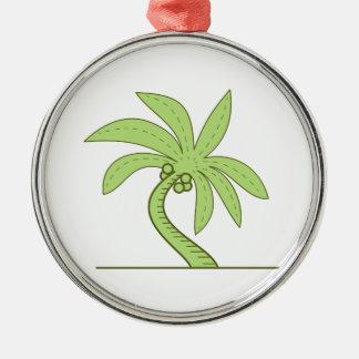 Ligne mono incurvée de palmier ornement rond argenté