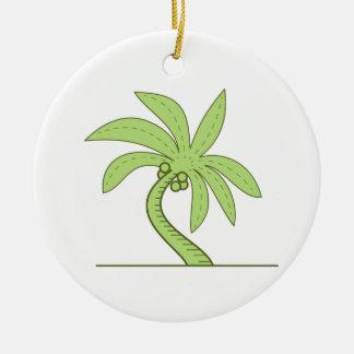 Ligne mono incurvée de palmier ornement rond en céramique