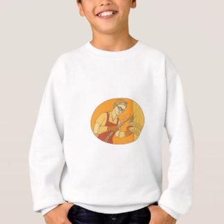 Ligne mono vintage femelle de soudage à sweatshirt