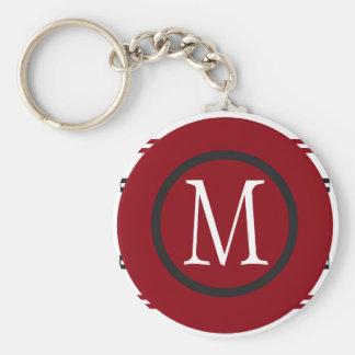 Ligne noire blanche rouge élégante conception avec porte-clé rond