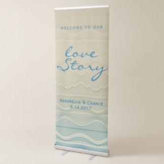Ligne onduleuse bleue mariage de Love Story Tan | Banderole Rétractable