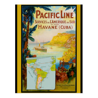 Ligne Pacifique voyage vintage Carte Postale
