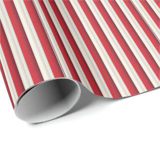 Ligne rayée motif d'or rouge et blanc papier cadeau noël