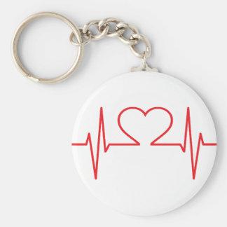 Ligne rouge de battement de coeur porte-clé rond