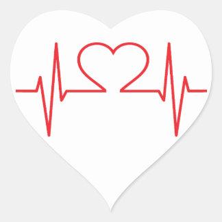 Ligne rouge de battement de coeur sticker cœur