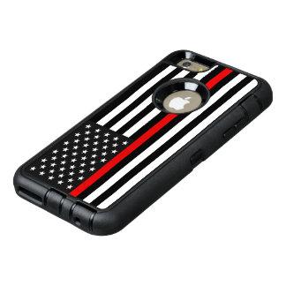 Ligne rouge mince drapeau américain coque OtterBox iPhone 6 et 6s plus