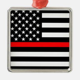 Ligne rouge mince drapeau américain noir et blanc ornement carré argenté