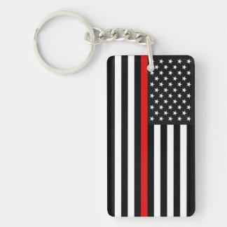 Ligne rouge mince drapeau américain porte-clés
