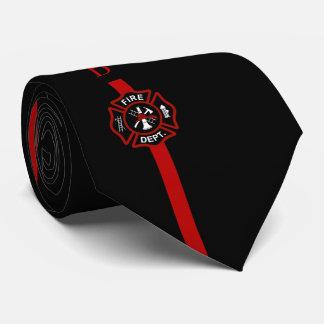 Ligne rouge mince noir fait sur commande cravate