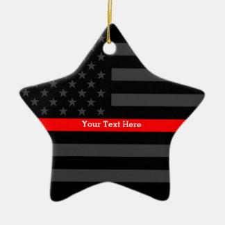 Ligne rouge mince personnalisée drapeau gris des ornement étoile en céramique