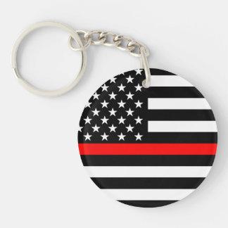 Ligne rouge mince symbole de l'Amérique Porte-clés