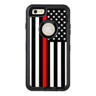 Ligne rouge mince symbolique de drapeau américain coque OtterBox iPhone 6 et 6s plus