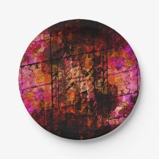 Lignes abstraites rouge pourpre de remous d'art de assiettes en papier