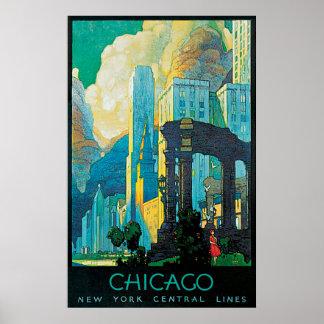 Lignes centrales affiche de Chicago New York de Poster