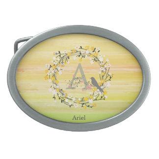 Lignes de brosse d'aquarelle, monogramme de boucles de ceinture ovales
