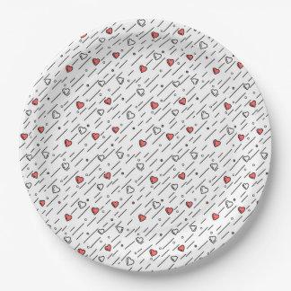 Lignes de coeur assiettes en papier