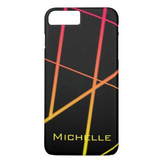 Lignes jaunes et rouges personnalisées de gradient coque iPhone 7 plus