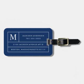 Lignes modernes étiquette de bleu marine de bagage étiquette à bagage