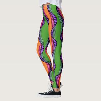 Lignes onduleuses colorées guêtres leggings