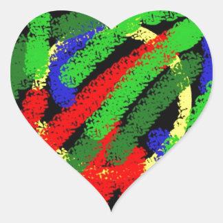 Lignes pas droites fluorescentes colorées sticker cœur