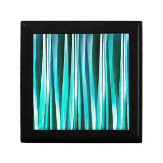 Lignes rayées motif de turquoise et d'océan cyan boîte à souvenirs