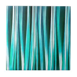 Lignes rayées motif de turquoise et d'océan cyan carreau