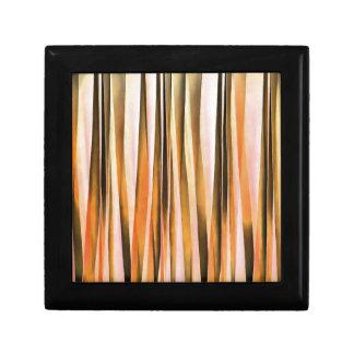 Lignes rayées oranges motif d'automne de Brown et Petite Boîte À Bijoux Carrée