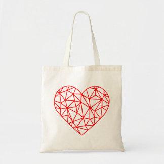 Lignes rouges polygonales sac fourre-tout du coeur