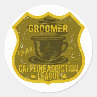 Ligue de dépendance de caféine de Groomer de chien Autocollants Ronds