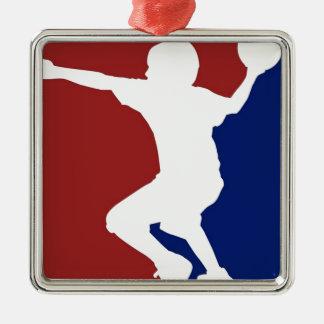 Ligue de Dodgeball Ornement Carré Argenté