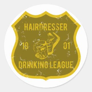 Ligue potable de coiffeur autocollant rond