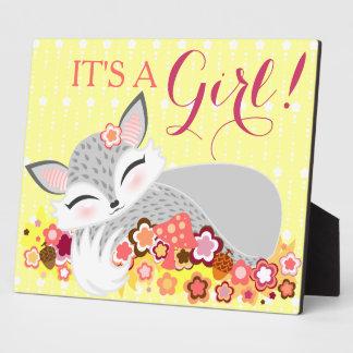 Lil Foxie CUB - c est une fille Signe de baby Impressions Sur Plaque