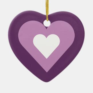 Lilas assez pourpre et coeur blanc ornement cœur en céramique
